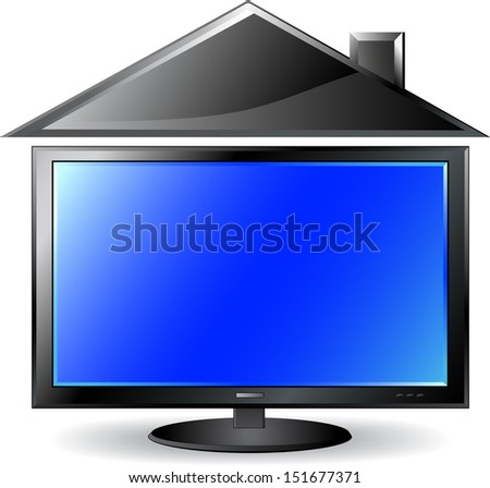 Concept with plasma lcd TV and house silhouette - stock photo