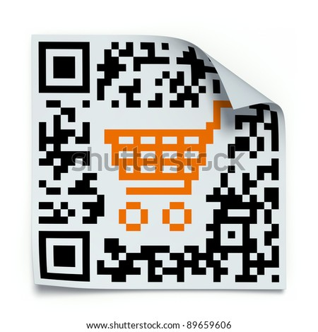 Concept with QR code label with the shopping cart - stock photo