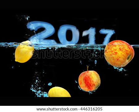 Concept with Text floating on Water and falling fresh Fruit - stock photo