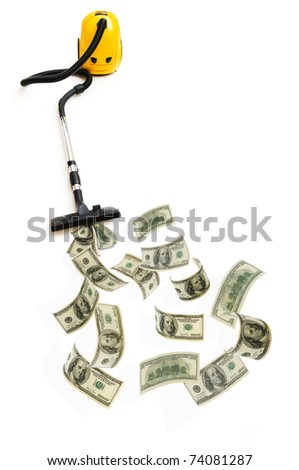 Concept with vacuum cleaner sucking money - stock photo