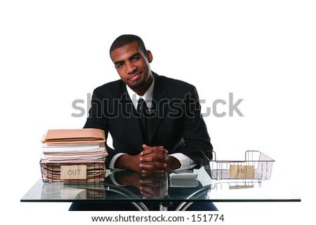 Concept: Work done, happy businessman - stock photo