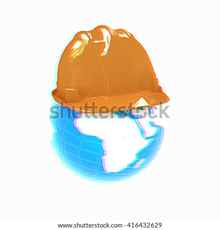 "Concept: ""Worldwide building company"" on a white background. 3D illustration. Anaglyph. View with red/cyan glasses to see in 3D. - stock photo"
