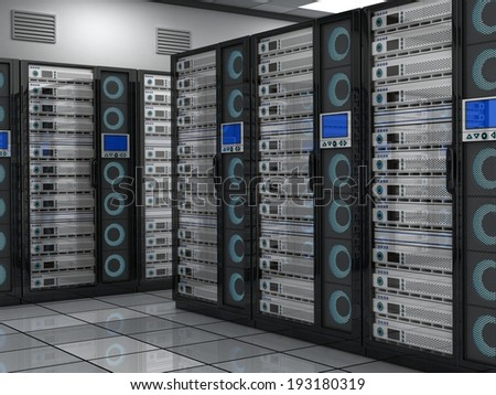 Conception big server-room  (done in 3d)    - stock photo