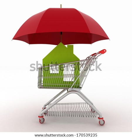 Conception of defence of the real estate for sale. 3d illustration of light shopping cart, icon of house and umbrella - stock photo