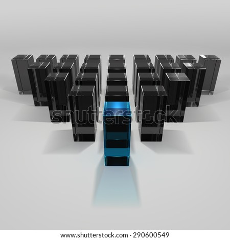 Conception of leadership, teamwork. Blue shape ahead of group of black shapes isolated on grey background. 3D render  - stock photo