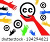 Conception of legal noncommercial is licenses Creative commons - stock vector