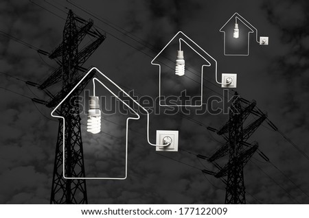Conception of providing with of houses electric power - stock photo