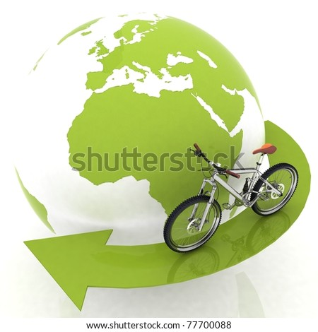 conception of tourism on an ecological transport - stock photo