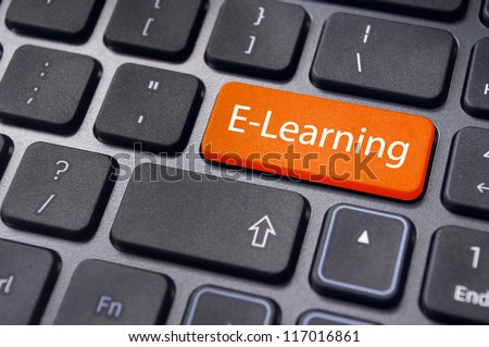 Concepts of E-learning, for computer based learning, with a message on enter key of keyboard. - stock photo