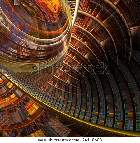 conceptual abstract graphic illustration 'multiple dimensionality' - stock photo