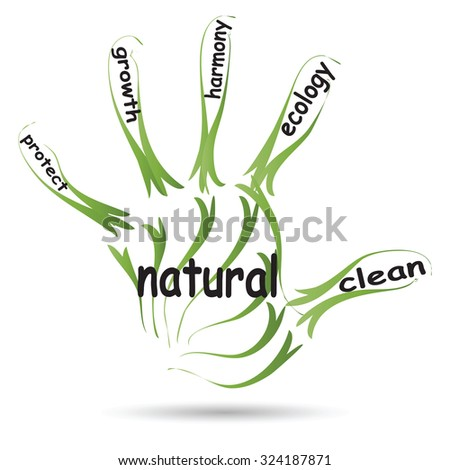 Conceptual abstract green ecology, conservation word cloud text in man handprint on white background for environment, recycle, earth, clean, alternative, protection, energy, eco friendly or bio - stock photo