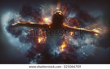 Conceptual and digital manipulation with fire, smoke effects.