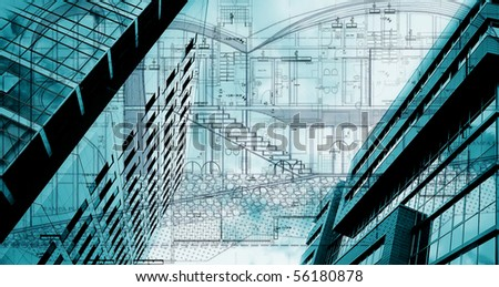 conceptual architectural plan; abstract buildings conceptual - stock photo