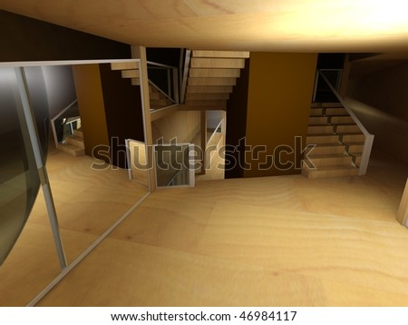 Conceptual architecture, indoor, wood room.