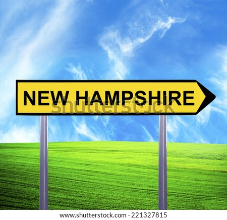 Conceptual arrow sign against beautiful landscape with text - NEW HAMPSHIRE - stock photo