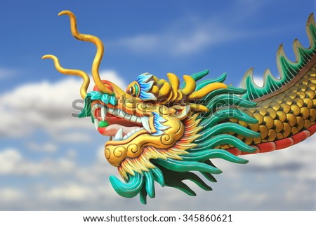 conceptual art : china dragon statue flying in the sky