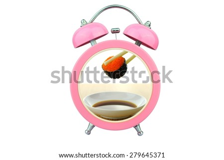 conceptual art : sushi time : holding shrimp eggs sushi and sauce within pink alarm clock isolated on white background - stock photo