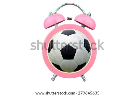 conceptual art : time to exercise : ball within pink alarm clock isolated on white background - stock photo