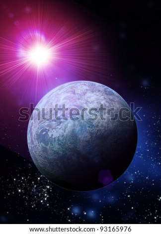 Conceptual artwork of  Kepler 20f earth like planet recently discovered. We see it in deep space with a distant sun shining. - stock photo