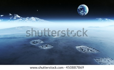 Conceptual artwork of mankind exploring space and alien planets. Footprints are the evidence left behind with the view of earth in distant space ( Elements of this 3D render furnished by NASA ) - stock photo