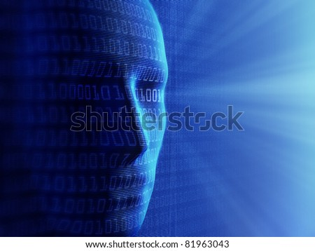 Conceptual background- Artificial intelligence / humans and cyber-business (detailed with millions of small binary code) - stock photo