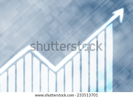 Conceptual background digital image with increasing graph - stock photo