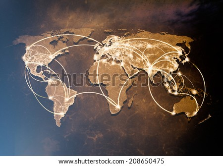 Conceptual background image of world map and connection lines - stock photo