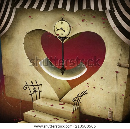 Conceptual background or illustration with  door in the shape of  heart, and  clock pendulum.  - stock photo