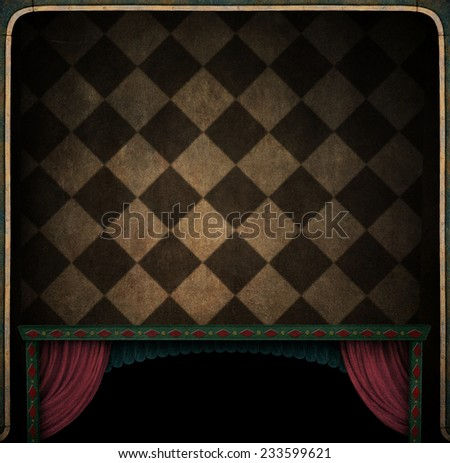 Conceptual background texture or illustration in dark room - stock photo
