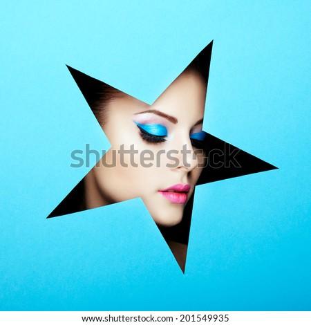 Conceptual beauty portrait of beautiful young woman. Cosmetic Eyeshadows. Fashion photo - stock photo