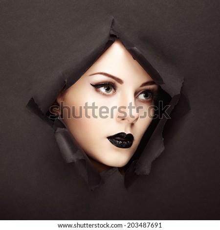Conceptual beauty portrait of beautiful young woman. Perfect Manicure.  Cosmetic Eyeshadows. Fashion photo - stock photo