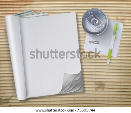 conceptual blank book with soda can and pen over wooden background - stock photo