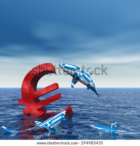 Conceptual bloody euro symbol or sign sinking in water or sea, with Greece sharks eating, metaphor or concept for crisis in Europe, ideal for financial, business or currency, money, depresion designs - stock photo