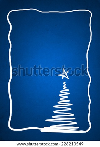 Conceptual blue old paper background, made of grungy or vintage texture stained or dirty surface ideal for holiday, Christmas or retro designs with a white conceptual fir tree and a border or frame - stock photo