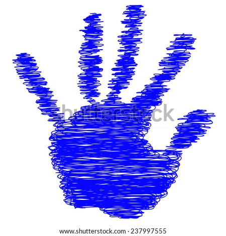 Conceptual blue painted drawing hand shape print isolated on white paper background, for handmade or manual, art, line, children, scribble, education, grungy or sketch design, made by a child
