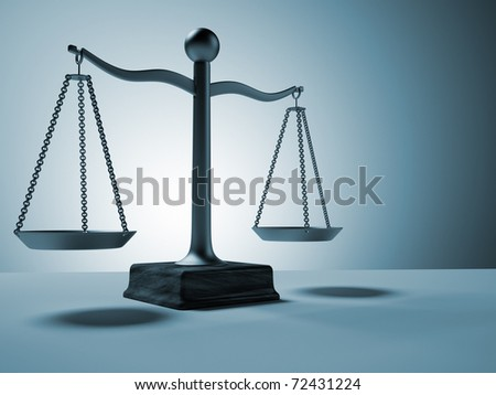 Conceptual brass scale - this is a 3d render illustration - stock photo
