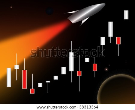 Conceptual bull market illustration - stock photo