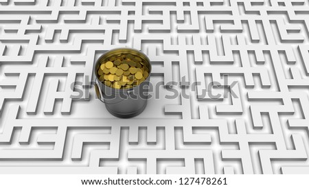 Conceptual business background: Coins in the bucket in center of labyrinth.