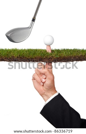 conceptual business image with golf club of taking a risk or many other concepts - stock photo