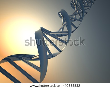 Conceptual chemistry scene - DNA structure - 3d render - stock photo