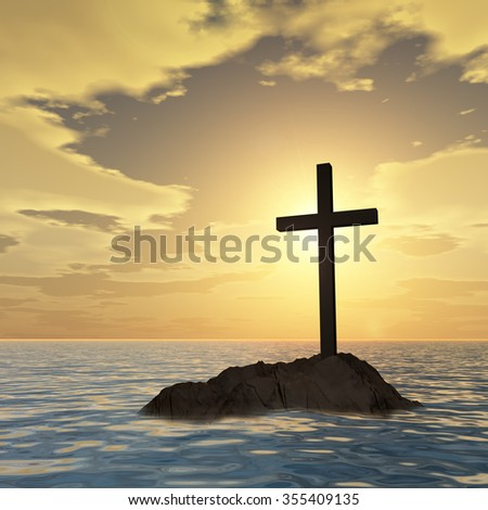 Conceptual Christian cross on a little rock island in the ocean or sea with waves and the sky at sunset banner metaphor for faith, religion, religious, belief, Jesus, Christ, spiritual or church - stock photo