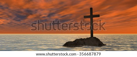 Conceptual Christian cross on a little rock island in the ocean sea with waves the sky at sunset banner for God, Christ, Christianity, lige, religious, faith, holy, spiritual, Jesus belief resurection - stock photo