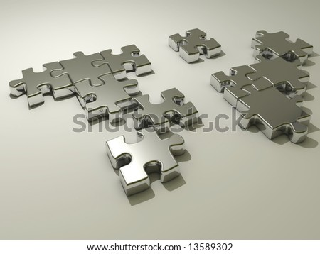 Conceptual chromed jigsaw puzzle - rendered in 3d