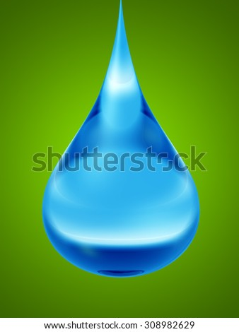 Conceptual clean cold blue rain water liquid drop falling, green gradient  background, metaphor to nature, wet, purity, splash, fresh, spring, summer, pure, freshness, drink, eco or environment - stock photo