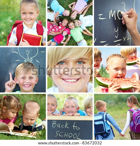 conceptual collage colorful pictures on primary education - stock photo