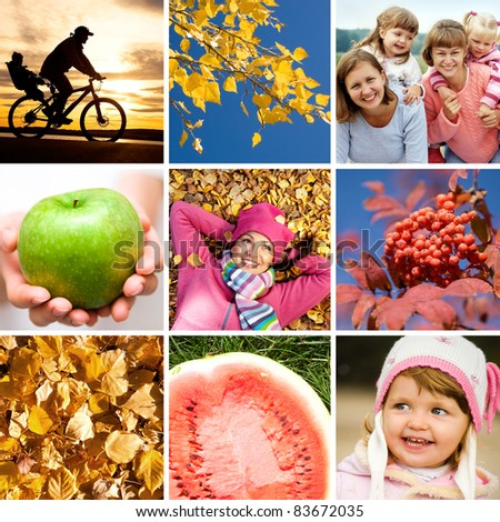 conceptual collage of pictures on the bright autumn theme - stock photo