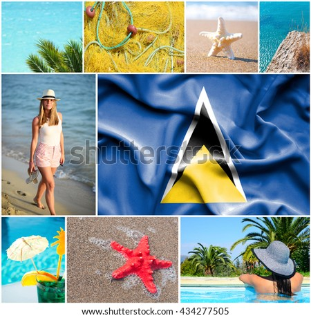 Conceptual collage of summer vacation in Saint Lucia - stock photo