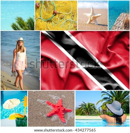 Conceptual collage of summer vacation in Trinidad and Tobago - stock photo