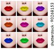 Conceptual collage with nine close-up images of colorful woman lips. Beauty, fashion, make-up - stock photo