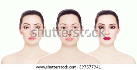 Conceptual collage with three images of one model. Clean face without make-up, natural make-up and bright party make-up, over white background. Eyebrows, complexion, lipstick. - stock photo